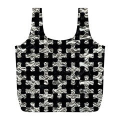 Puzzle1 Black Marble & Silver Foil Full Print Recycle Bags (l)