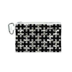 Puzzle1 Black Marble & Silver Foil Canvas Cosmetic Bag (s)