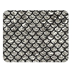 Scales1 Black Marble & Silver Foil Double Sided Flano Blanket (large)