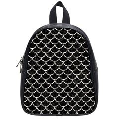Scales1 Black Marble & Silver Foil (r) School Bag (small)