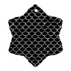 Scales1 Black Marble & Silver Foil (r) Snowflake Ornament (two Sides)
