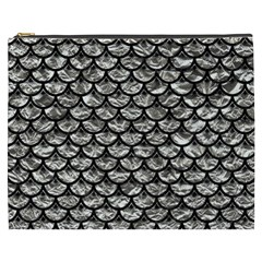 Scales3 Black Marble & Silver Foil Cosmetic Bag (xxxl)