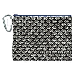 Scales3 Black Marble & Silver Foil Canvas Cosmetic Bag (xxl)
