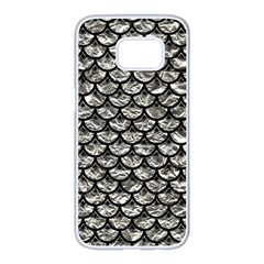Scales3 Black Marble & Silver Foil Samsung Galaxy S7 Edge White Seamless Case