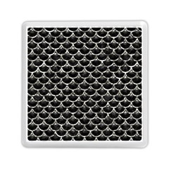 Scales3 Black Marble & Silver Foil (r) Memory Card Reader (square)