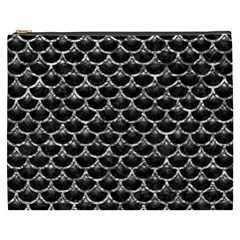 Scales3 Black Marble & Silver Foil (r) Cosmetic Bag (xxxl)