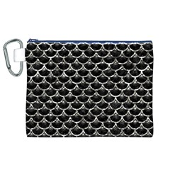 Scales3 Black Marble & Silver Foil (r) Canvas Cosmetic Bag (xl)
