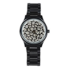 Skin1 Black Marble & Silver Foil (r) Stainless Steel Round Watch