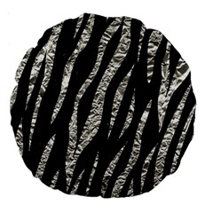 Skin3 Black Marble & Silver Foil (r) Large 18  Premium Round Cushions