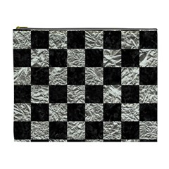 Square1 Black Marble & Silver Foil Cosmetic Bag (xl)