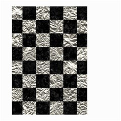 Square1 Black Marble & Silver Foil Small Garden Flag (two Sides)