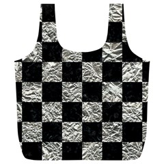 Square1 Black Marble & Silver Foil Full Print Recycle Bags (l)