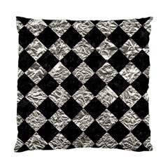 Square2 Black Marble & Silver Foil Standard Cushion Case (one Side)
