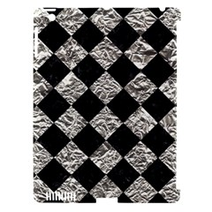 Square2 Black Marble & Silver Foil Apple Ipad 3/4 Hardshell Case (compatible With Smart Cover)