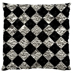Square2 Black Marble & Silver Foil Large Cushion Case (two Sides)