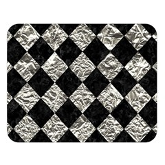 Square2 Black Marble & Silver Foil Double Sided Flano Blanket (large)