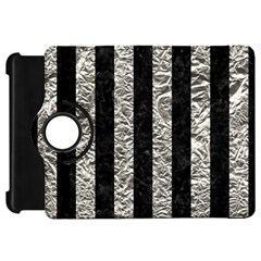 Stripes1 Black Marble & Silver Foil Kindle Fire Hd 7