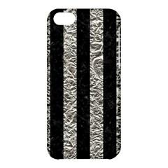 Stripes1 Black Marble & Silver Foil Apple Iphone 5c Hardshell Case