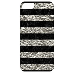 Stripes2 Black Marble & Silver Foil Apple Iphone 5 Classic Hardshell Case
