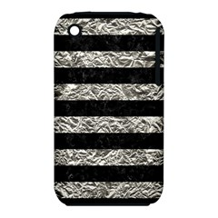 Stripes2 Black Marble & Silver Foil Iphone 3s/3gs