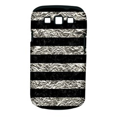 Stripes2 Black Marble & Silver Foil Samsung Galaxy S Iii Classic Hardshell Case (pc+silicone)