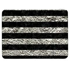 Stripes2 Black Marble & Silver Foil Samsung Galaxy Tab 7  P1000 Flip Case