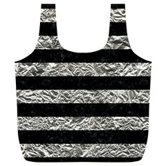 Stripes2 Black Marble & Silver Foil Full Print Recycle Bags (l)