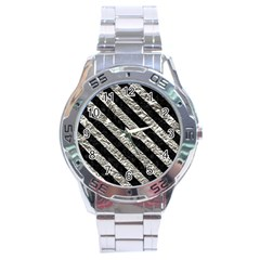 Stripes3 Black Marble & Silver Foil Stainless Steel Analogue Watch