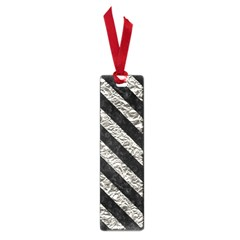 Stripes3 Black Marble & Silver Foil Small Book Marks