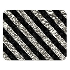 Stripes3 Black Marble & Silver Foil Double Sided Flano Blanket (large)