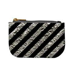 Stripes3 Black Marble & Silver Foil (r) Mini Coin Purses