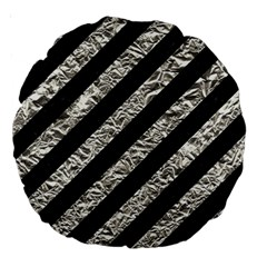 Stripes3 Black Marble & Silver Foil (r) Large 18  Premium Round Cushions