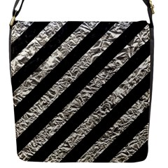 Stripes3 Black Marble & Silver Foil (r) Flap Messenger Bag (s)