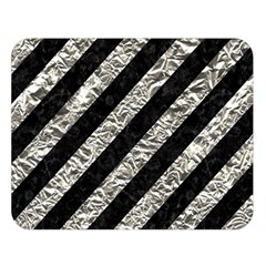 Stripes3 Black Marble & Silver Foil (r) Double Sided Flano Blanket (large)