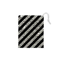 Stripes3 Black Marble & Silver Foil (r) Drawstring Pouches (xs)