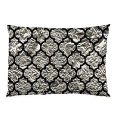 Tile1 Black Marble & Silver Foil Pillow Case