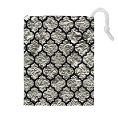 Tile1 Black Marble & Silver Foil Drawstring Pouches (extra Large)