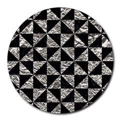 Triangle1 Black Marble & Silver Foil Round Mousepads