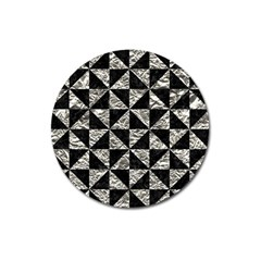 Triangle1 Black Marble & Silver Foil Magnet 3  (round)