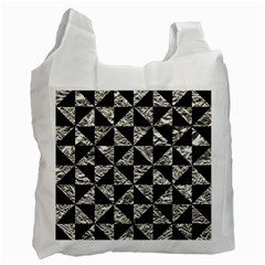 Triangle1 Black Marble & Silver Foil Recycle Bag (one Side)