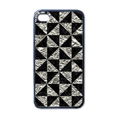 Triangle1 Black Marble & Silver Foil Apple Iphone 4 Case (black)