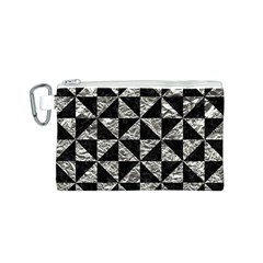Triangle1 Black Marble & Silver Foil Canvas Cosmetic Bag (s)