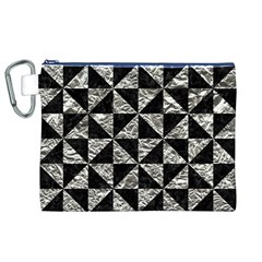 Triangle1 Black Marble & Silver Foil Canvas Cosmetic Bag (xl)