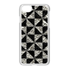 Triangle1 Black Marble & Silver Foil Apple Iphone 8 Seamless Case (white)