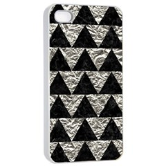 Triangle2 Black Marble & Silver Foil Apple Iphone 4/4s Seamless Case (white)