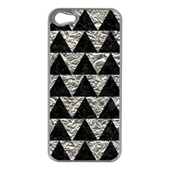 Triangle2 Black Marble & Silver Foil Apple Iphone 5 Case (silver)