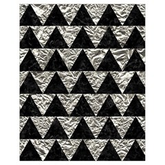 Triangle2 Black Marble & Silver Foil Drawstring Bag (small)