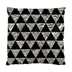 Triangle3 Black Marble & Silver Foil Standard Cushion Case (one Side)