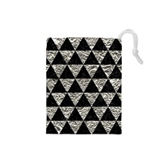 Triangle3 Black Marble & Silver Foil Drawstring Pouches (small)