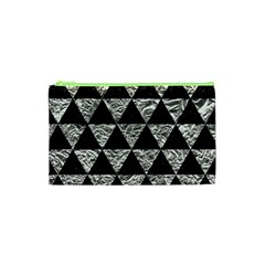 Triangle3 Black Marble & Silver Foil Cosmetic Bag (xs)